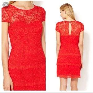 Cynthia Steffe red ruffle lace dress size 10